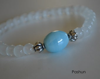Yoga Stretch Bracelets ...  Cloudy White and Blue (1381)