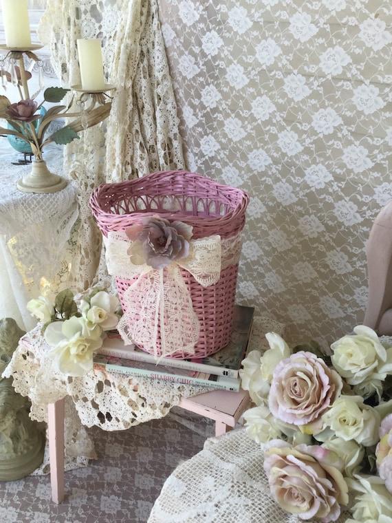 Shabby Pink Waste Basket Vintage Wicker Waste
