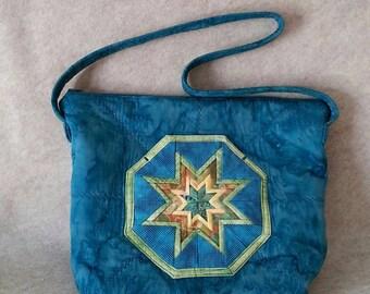 Dark Teal watercolor quilted zippered folded star shoulder bag