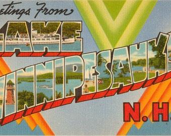Linen Postcard, Greetings from Lake Winnipesaukee, New Hampshire, Large Letter