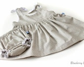 Pretty Baby Dress & Knickers/Nappy Cover - Baby Outfit - 6-12 months - ready to ship, handmade baby clothes, baby gift