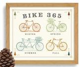 Bicycle Art 365 Days Bike Rider Bike Art Loves Cycling Art Bike Enthusiast Office Art Vintage Inspired Gift for Cyclist Bike Shop Bike Team