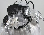 Steampunk Black Mini Top Hat with silver and black ribbon, silver ivy leaves, and white flowers OOAK