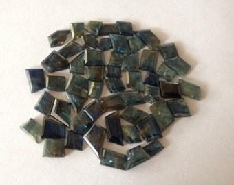 Blue Sapphire Side faceted flats pointed shapes pcs 53 wt 78 carats irregular shape geometric design sapphire flat blue sapphire