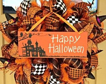 Halloween Wreath~ Happy Halloween Wreath~ Deco Mesh Wreath