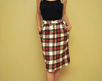 Knee Length Plaid Skirt - Red Tartan - Punk Pinup Pencil Skirt