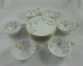 Mid Century Noritake 5528 Florence (Coupe) 6 Cups & Saucers + 1 Extra Saucer