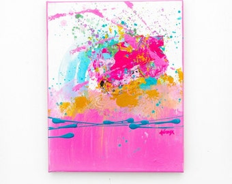 Acrylic abstract painting Pink wall art Original Artwork modern abstract art paintings by Heroux 8x10 inch