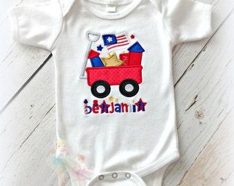 Boys 4th of July shirt - patriotic wagon shirt for boys - 4th of July wagon shirt - 1st 4th of July shirt - independence day shirt - custom