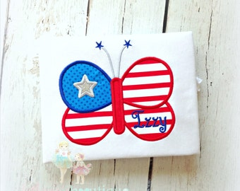 Patriotic Butterfly with Silver Star Applique Shirt- 4th of July- Red, white, and blue- 1st 4th of July