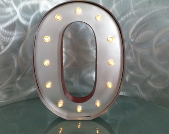 Silver metal vintage look light up marquee letter initial O sign