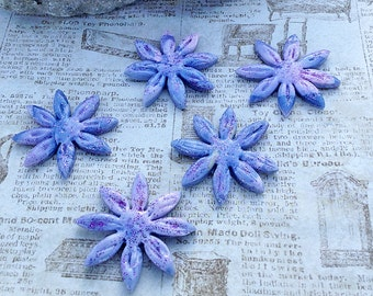 Blue Violet Flower Beads, Custom Beads, Polymer Clay Beads, Jewelry Supply, Bead Supply, Unique Beads, Purple Beads, Flower Beads