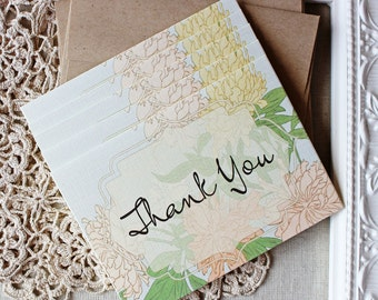 Thank You Notes set of 5 Chrysanthemum Floral Vintage Illustration