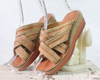 Vintage 70's Layered Foam Wedge Sandals
