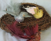 Feathered glittered decorative birds for crafts, set of 4