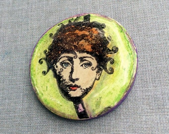Zetti Lady Handmade Polymer Clay Cabochon Rubber Stamped Resin Art