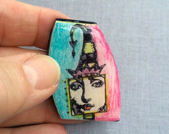 Zetti Lady with Party Hat Handmade Polymer Clay Cabochon Rubber Stamped Resin Art