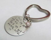ANGEL MOM - Angel wing  and Pink pearl- Loss of MOM - Heart Keychain