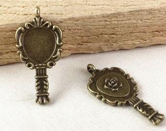 50pcs Antique Bronze Mini Mirror Charm Pendants 14x26mm G407-5