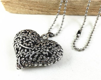 1pc Antique Silver Filigree Heart Necklace Fashion Charm Necklace