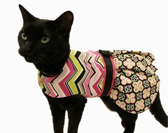 Cat Clothes - Cat Dress - Plum and Black Moroccan Print Cat Harness Dress - Cat Clothing - Clothes for Cats
