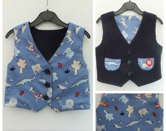 Boy's Vest, Boy's Reversible Vest, Boy's Waistcoat, Boy's Reversible Waistcoat, Boy's Clothing, Child's Clothing, Toddler, Animals, Lion