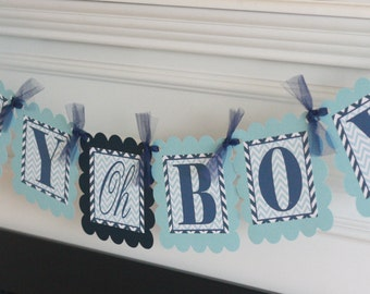 "Navy & Light Blue Chevron Baby Shower Boy ""Boy Oh Boy"" Banner - Ask About our Party Pack Specials"