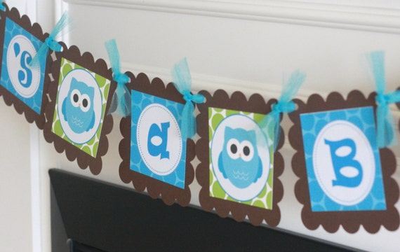 """Owl Theme """"It's a Boy""""  Turquoise Blue & Green Polka Dot Baby Shower Banner - Ask About our Party Pack Special"""
