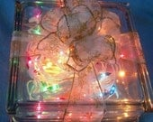 Glass Lighted Gift Box- 7.75 Square x 3.75 Tall