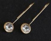 18k Gold Dangle Earrings - White Topaz 18K Gold Earrings - White Topaz Lollipop Earrings - Bridal Wear Earrings - FREE SHIPPING