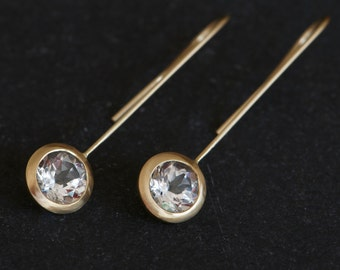 18k Gold Dangle Earrings - White Topaz 18K Gold Earrings - White Topaz Lollipop Earrings - Bridal Wear Earrings - FREE SHIPPING