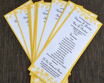 Yellow Two Sided Wedding Program