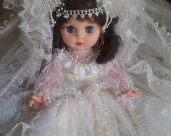 Vintage Doll with Handmade Lace Wedding Gown