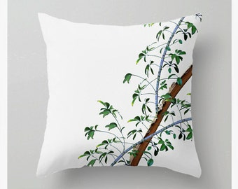 Tropical Floral Banana Leaves Pillow Cover II, Throw, Green, Yellow, Ochre, Taupe, Brown, Accent Pillow Cover, Home Decor, 1st Image ONLY