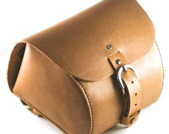 Leather Bicycle Bag, Handlebar Bag, Seat Bag, Saddle Bag, Hand Stitched, Full Grain