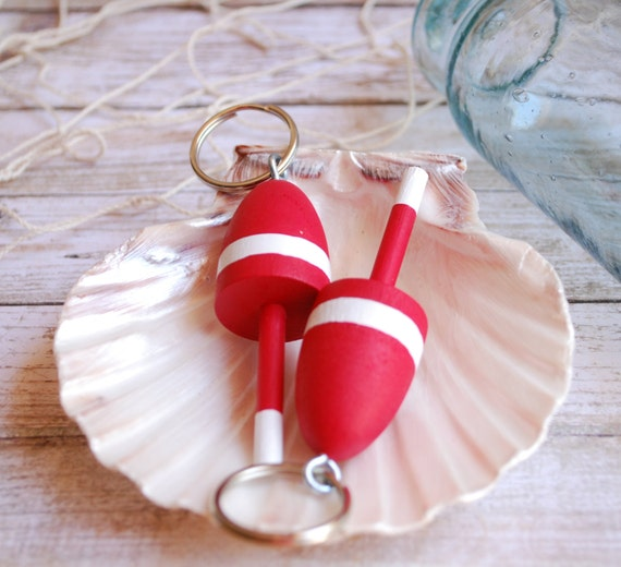 Nautical Decor  - Lobster Buoy Keychain - Red and White Wedding Favor, Miniature Lobster Buoy Wedding Favors Nautical Wedding
