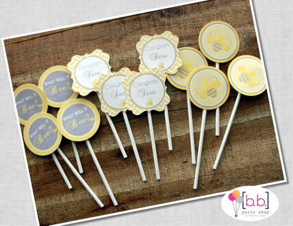 Bee- What will it Bee Baby Shower- 2 inch round Cupcake Toppers, Gray & Blue- Printable or Shipped