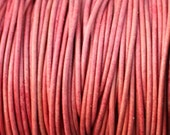 2mm Pink Natural Dye Genuine Leather Cord - 2mm Round Cord