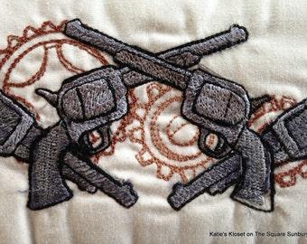 Hand Made Door Stop Western Steampunk Revolvers Guns Gears