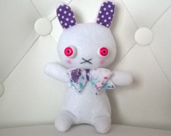 Cute White and Purple Bunny Rabbit with Red Eyes Plush Softie Stuffed Animal Plushie Gift Easter Ooak Soft