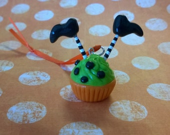 Halloween Upside Down Witch Orange and Green Cupcake Ornament Polymer Clay Dessert Food Charm Gift Minature Ooak Holiday Fall