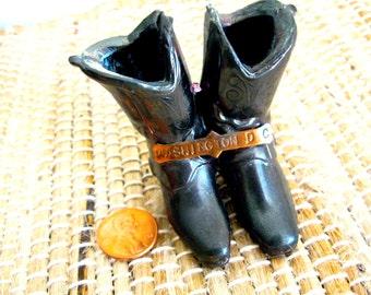 """Vintage Washington DC Souvenir Cowboy Boots Cast Metal Spurs 2.25"""" VintageShabbyToChic"""