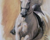 Beautiful Equine horse art dressage movement based print 'Poise II' from an original oil sketch individually signed