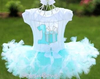 First Birthday tutu- Girls First Birthday- Girls 1st Birthday- 1st Birthday tutu-Girls 1st Birthday Outift- Blue and Silver tutu- Girl tutu