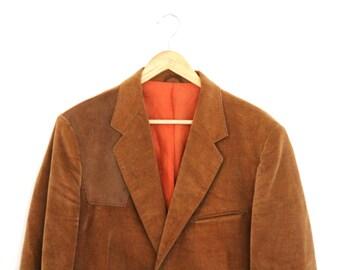 Vintage Mens Blazer Wrangler Tailored Western Wear Brown Velvet Suede Size 40R 1980s