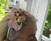 Rose Fascinator with Bling Vintage Velvet leaves and Rose Hair Accessories and Hair Jewelry