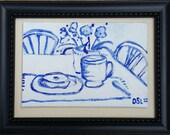 Oil Painting-Breakfast Table-Small Art- Original art by Diann
