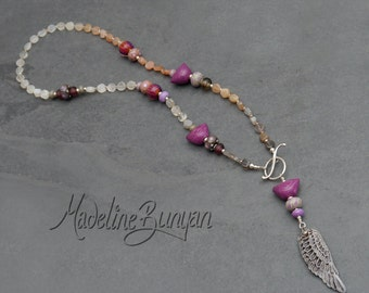 Bird and Wing Long Necklace, Peach, Hot pink and Grey, moonstone, lampwork, artisan ceramic, sterling silver