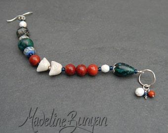 Teal, Red and white Birds bracelet, lampwork, artisan ceramic, sterling silver