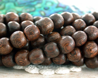 8mm Wood Beads, Robles Wood Beads, Undyed Natural Wood Beads, Natural Beads, Recycled Wood Beads NAT-277